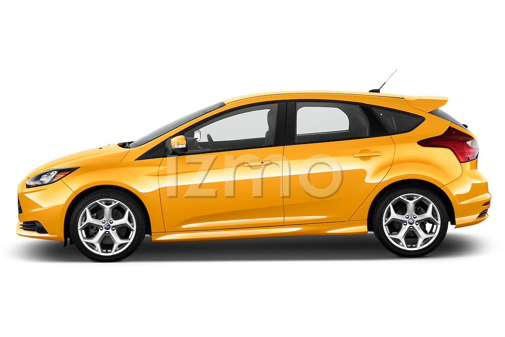 Driver side profile view of 2013 Ford Focus ST Hatchback Stock Photo