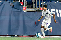 FOXBOROUGH, MA - AUGUST 7: Moises Tablante #67 of Orlando City B dribbles down the wing during a game between Orlando City B and New England Revolution II at Gillette Stadium on August 7, 2020 in Foxborough, Massachusetts.