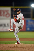 Johnson City Cardinals relief pitcher Oneiver Diaz (28) delivers a pitch during the second game of a doubleheader against the Princeton Rays on August 17, 2018 at Hunnicutt Field in Princeton, Virginia.  Princeton defeated Johnson City 12-1.  (Mike Janes/Four Seam Images)