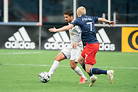 FOXBOROUGH, MA - APRIL 17: Zaca Moran #6 of Richmond Kickers passes the ball under pressure from Connor Presley #7 of New England Revolution II during a game between Richmond Kickers and Revolution II at Gillette Stadium on April 17, 2021 in Foxborough, Massachusetts.