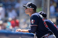 Braxton Davidson (24) of the Rome Braves watches the action from the dugout during the game against the Asheville Tourists at McCormick Field on July 26, 2015 in Asheville, North Carolina.  The Tourists defeated the Braves 16-4.  (Brian Westerholt/Four Seam Images)