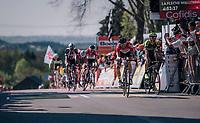 Jelle Vanendert (BEL/Lotto-Soudal) finishing a strong 3rd up the Mur de Huy, just ahead of Roman Kreuziger (CZE/Michelton-Scott)<br /> <br /> 82nd Flèche Wallonne 2018 (1.UWT)<br /> 1 Day Race: Seraing - Huy (198km)