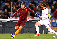 Calcio, Serie A: Roma vs Fiorentina. Roma, stadio Olimpico, 7 febbraio 2017.<br /> Roma's Kevin Strootman, left, is challenged by Fiorentina's Sebastian Cristoforo during the Italian Serie A soccer match between Roma and Fiorentina at Rome's Olympic stadium, 7 February 2017.<br /> UPDATE IMAGES PRESS/Riccardo De Luca