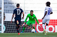 GUADALAJARA, MEXICO - MARCH 28: David Ochoa #20 of the U-23 USMNT races over to save the ball during a game between Honduras and USMNT U-23 at Estadio Jalisco on March 28, 2021 in Guadalajara, Mexico.