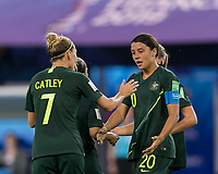 GRENOBLE, FRANCE - JUNE 18: Sam Kerr #20 of the Australian National Team celebrates second of four goals with teammates during a game between Jamaica and Australia at Stade des Alpes on June 18, 2019 in Grenoble, France.