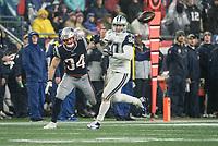 FOXBOROUGH, MA - NOVEMBER 24: Dallas Cowboys Linebacker Sean Lee #50 disrupts a catch by New England Patriots Runningback Rex Burkhead #34 during a game between Dallas Cowboys and New England Patriots at Gillettes on November 24, 2019 in Foxborough, Massachusetts.