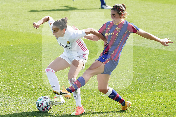 First official match and first classic in the history of women's Real Madrid.<br /> Real Madrid's Aurelie Kaci and FC Barcelona's Mariona Caldentey during Spanish Female League match. October 4,2020. (ALTERPHOTOS/Acero)