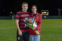 November 13, 2013: Tyler Conklin during the senior day ceremony before the Stanford vs Cal men's soccer match in Stanford, California.  Stanford won 2-1 in overtime.