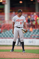 Altoona Curve pitcher Angel German (32) during an Eastern League game against the Erie SeaWolves on June 5, 2019 at UPMC Park in Erie, Pennsylvania.  Altoona defeated Erie 6-2.  (Mike Janes/Four Seam Images)