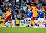St Johnstone v Galatasaray…12.08.21  McDiarmid Park Europa League Qualifier<br />Ali McCann tackles Taylan Antalyali<br />Picture by Graeme Hart.<br />Copyright Perthshire Picture Agency<br />Tel: 01738 623350  Mobile: 07990 594431