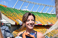 Grammy Award winner Canadian singer Sarah McLachlan speaks to the media on the even of opening Women's World Cup Soccer match, Friday June 05, 2015 in Edmonton, Alberta. (Mo Khursheed/TFV Media via AP Images)