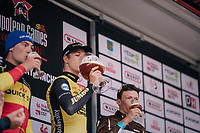 Danny Van Poppel (NED/LottoNL-Jumbo) wins the 2018 Binche - Chimay - Binche / Memorial Frank Vandenbroucke (1.1 Europe Tour) and gets the biggest beer as a reward...<br /> Belgian Champion Yves Lampaert (BEL/Quick Step Floors) finishes 2nd and Oliver Naesen (BEL/AG2R-La Mondiale) 3rd<br /> <br /> 1 Day Race: Binche to Binche (197km)