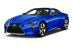 2018 Lexus LC Blue Edition 2 Door Coupe angular front stock photos of front three quarter view
