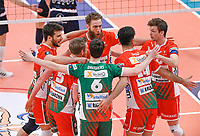 players from Maaseik with American Mitchell Stahl of Maaseik pictured celebrating during a Volleyball game between Knack Volley Roeselare and Greenyard Maaseik , the third game in a best of five in the play offs in the 2020-2021 season , saturday 10 th April 2020 at the Schiervelde international Sportshall in Roeselare  , Belgium  .  PHOTO SPORTPIX.BE   DAVID CATRY