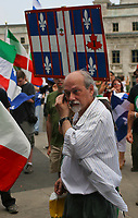 Hardline separatist and ex-FLQ member Raymond Villeneuve takes part into the MLNQ protest on Terrasse Dufferin Friday July 1, 2005.<br /> <br /> PHOTO :  Francis Vachon - Agence Quebec Presse