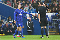 Danny Ward of Cardiff City talks with referee Andy Madley during the Sky Bet Championship match between Cardiff City and Brentford at the Cardiff City Stadium, Wales, UK. Saturday 18 November 2017