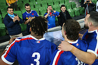 13th July 2021; AAMI Park, Melbourne, Victoria, Australia; International test rugby, Australia versus France; France players pose for photos with supporters.