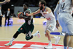 Real Madrid´s Sergio Rodriguez and Zalgiris Kaunas´s Will Cherry during 2014-15 Euroleague Basketball match between Real Madrid and Zalgiris Kaunas at Palacio de los Deportes stadium in Madrid, Spain. April 10, 2015. (ALTERPHOTOS/Luis Fernandez)