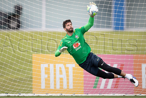 12th November 2020; Granja Comary, Teresopolis, Rio de Janeiro, Brazil; Qatar 2022 World Cup qualifiers; Alisson of Brazil during training session
