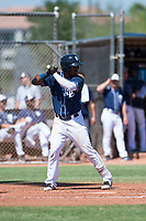 San Diego Padres third baseman Olivier Basabe (8) at bat during an Instructional League game against the Milwaukee Brewers at Peoria Sports Complex on September 21, 2018 in Peoria, Arizona. (Zachary Lucy/Four Seam Images)