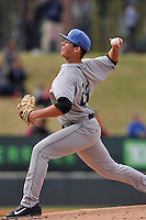 Pitcher Peter Lambert (24) of the Asheville Tourists delivers a pitch in a game against the Greenville Drive on Sunday, April 10, 2016, at Fluor Field at the West End in Greenville, South Carolina. Greenville won, 7-4. (Tom Priddy/Four Seam Images)