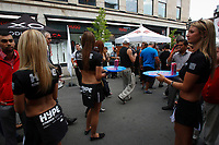 Montreal , CANADA - File photo - Sexy promo girls and crowd on Crescent street in downtown Montreal , June 12, 2012 during the Formula One Grand-Prix week end.