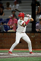 Johnson City Cardinals catcher Zach Jackson (15) at bat during a game against the Danville Braves on July 28, 2018 at TVA Credit Union Ballpark in Johnson City, Tennessee.  Danville defeated Johnson City 7-4.  (Mike Janes/Four Seam Images)