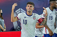 5th September 2021; Nashville, TN, USA;  United States forward Christian Pulisic (10) celebrates with fans after forward Brenden Aaronson (11) scored a goal during a CONCACAF World Cup qualifying match between the United States and Canada on September 5, 2021 at Nissan Stadium in Nashville, TN.