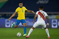 5th July 2021; Nilton Santos Stadium, Rio de Janeiro, Brazil; Copa America, Brazil versus Peru; Casemiro of Brazil takes on Yotun of Peru