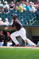 Rochester Red Wings outfielder Aaron Hicks (31) hits a home run during a game against the Norfolk Tides on May 3, 2015 at Frontier Field in Rochester, New York.  Rochester defeated Norfolk 7-3.  (Mike Janes/Four Seam Images)