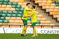 20th March 2021; Carrow Road, Norwich, Norfolk, England, English Football League Championship Football, Norwich versus Blackburn Rovers; Kenny McLean of Norwich City celebrates with Emi Buendia after he scores for 1-0 in the 53rd minute