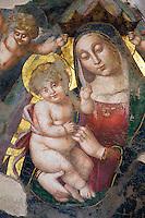 Italien, Umbrien, Fresko in Basilica di San Benedetto in Norcia, Maria und Kind