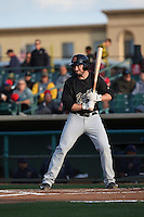 Cody Regis (18) of the Visalia Rawhide bats against the Lancaster JetHawks at The Hanger on May 7, 2016 in Lancaster, California. Lancaster defeated Visalia, 19-5. (Larry Goren/Four Seam Images)