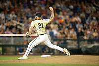 Vanderbilt Commodores pitcher Tyler Brown (21) delivers a pitch to the plate during Game 12 of the NCAA College World Series against the Louisville Cardinals on June 21, 2019 at TD Ameritrade Park in Omaha, Nebraska. Vanderbilt defeated Louisville 3-2. (Andrew Woolley/Four Seam Images)