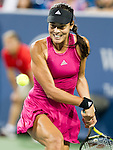 Ana Ivanovic (SRB) during her semifinal match against Maria Sharapova (RUS). Ivanovic advanced to Sunday's final with a score of 62 57 75 at the Western & Southern Open in Mason, OH on August 16, 2014.