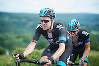 Bradley Wiggins (GBR) having a hard time up La Redoute (max 22%)<br /> <br /> Eneco Tour 2013<br /> stage 6: Riemst - Aywaille (La Redoute) <br /> 150km