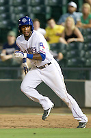 Round Rock Express outfielder Julio Borbon #20 heads to second during a game against the Memphis Redbirds at the Dell Diamond on July 7, 2011in Round Rock, Texas.  Round Rock defeated Memphis 6-4.  (Andrew Woolley / Four Seam Images)