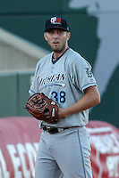 West Michigan Whitecaps pitcher Ross Seaton (38) warms up in the bullpen prior to game five of the Midwest League Championship Series against the Cedar Rapids Kernels on September 21st, 2015 at Perfect Game Field at Veterans Memorial Stadium in Cedar Rapids, Iowa.  West Michigan defeated Cedar Rapids 3-2 to win the Midwest League Championship. (Brad Krause/Four Seam Images)