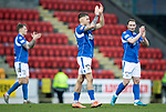 St Johnstone v Livingston…..07.03.20   McDiarmid Park  SPFL<br />Callum Hendry applauds the fans at full time with Jason Kerr and Chris Kane<br />Picture by Graeme Hart.<br />Copyright Perthshire Picture Agency<br />Tel: 01738 623350  Mobile: 07990 594431