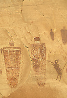 Trumpet man and other pictographs on canyon wall, Horseshoe Canyon Unit, Maze District, Canyonlands National Park, Utah