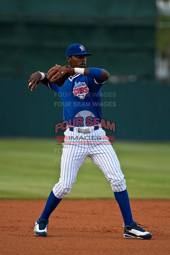 April 21 2010: Junior Lake (5) of the Daytona Beach Cubs during a game vs. the Tampa Yankees at Jackie Robinson Ballpark in Daytona Beach, Florida. Daytona, the Florida State League High-A affiliate of the Chicago Cubs, lost the game against Tampa, affiliate of the New York Yankees, by the score of 4-1.  Photo By Scott Jontes/Four Seam Images