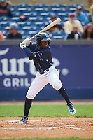 Wilmington Blue Rocks designated hitter D.J. Burt (3) at bat during the second game of a doubleheader against the Frederick Keys on May 14, 2017 at Daniel S. Frawley Stadium in Wilmington, Delaware.  Wilmington defeated Frederick 3-1.  (Mike Janes/Four Seam Images)