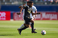 CARSON, CA - MAY 8: Diego Palacios #12 of LAFC moves with the ball during a game between Los Angeles FC and Los Angeles Galaxy at Dignity Health Sports Park on May 8, 2021 in Carson, California.