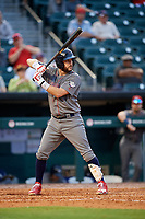 Lehigh Valley IronPigs designated hitter Trevor Plouffe (19) at bat during a game against the Buffalo Bisons on June 23, 2018 at Coca-Cola Field in Buffalo, New York.  Lehigh Valley defeated Buffalo 4-1.  (Mike Janes/Four Seam Images)