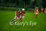 Tussle for possession between Shane McAullife of Crotta and Abbeydorney's Shane O'Donavan in the County Hurling league Div 3 final