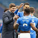 15.05.2021 Rangers v Aberdeen: Steven Gerrard with Jermain Defoe