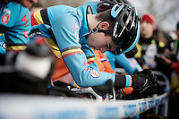 Wout Van Aert (BEL) focused at the start <br /> <br /> Elite Men's race<br /> <br /> 2015 UCI World Championships Cyclocross <br /> Tabor, Czech Republic
