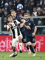 Football Soccer: UEFA Champions League -Group Stage-  Group H - Juventus vs Manchester United, Allianz Stadium. Turin, Italy, November 07, 2018.<br /> Juventus' Paulo Dybala (l) in action with Manchester United's Nemanja Matic (c) and Luke Shaw (r) during the Uefa Champions League football soccer match between Juventus and Manchester United at Allianz Stadium in Turin, November 07, 2018.<br /> UPDATE IMAGES PRESS