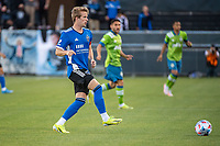 SAN JOSE, CA - MAY 12: Jackson Yueill #14 of the San Jose Earthquakes passes the ball during a game between San Jose Earthquakes and Seattle Sounders FC at PayPal Park on May 12, 2021 in San Jose, California.