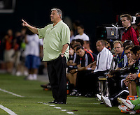 Seattle Sounders head coach Sigi Schmid instructs from the sideline during the Lamar Hunt U.S. Open Cup at RFK Stadium in Washington, DC.  The Seattle Sounders defeated DC United, 2-1.
